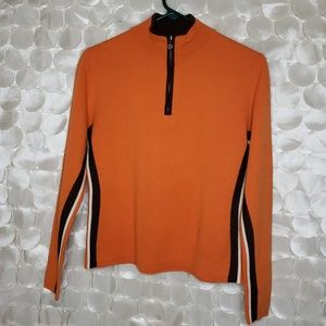 Néve Designs Wool Orange 1/4 Zip Sweater Size M